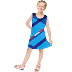 Minimal Swim Blue Illustration Pool Kids  Tunic Dress