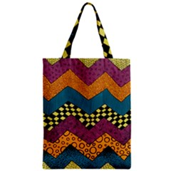 Painted Chevron Pattern Wave Rainbow Color Classic Tote Bag