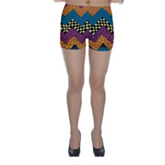Painted Chevron Pattern Wave Rainbow Color Skinny Shorts