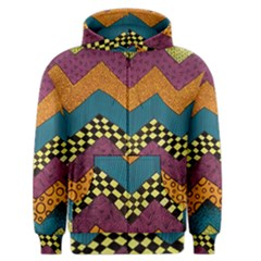 Painted Chevron Pattern Wave Rainbow Color Men s Zipper Hoodie