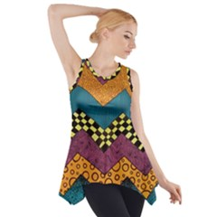 Painted Chevron Pattern Wave Rainbow Color Side Drop Tank Tunic