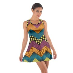Painted Chevron Pattern Wave Rainbow Color Cotton Racerback Dress