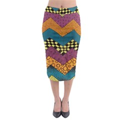 Painted Chevron Pattern Wave Rainbow Color Midi Pencil Skirt by Alisyart