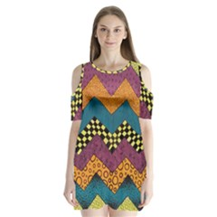 Painted Chevron Pattern Wave Rainbow Color Shoulder Cutout Velvet  One Piece by Alisyart
