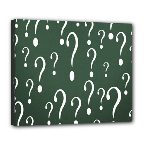 Question Mark White Green Think Deluxe Canvas 24  X 20   by Alisyart