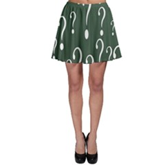 Question Mark White Green Think Skater Skirt