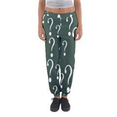 Question Mark White Green Think Women s Jogger Sweatpants by Alisyart