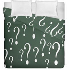 Question Mark White Green Think Duvet Cover Double Side (king Size) by Alisyart