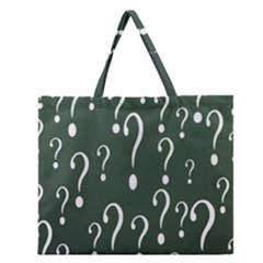 Question Mark White Green Think Zipper Large Tote Bag by Alisyart