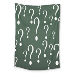 Question Mark White Green Think Large Tapestry by Alisyart