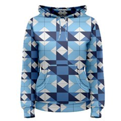 Radiating Star Repeat Blue Women s Pullover Hoodie