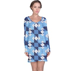 Radiating Star Repeat Blue Long Sleeve Nightdress