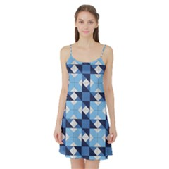 Radiating Star Repeat Blue Satin Night Slip