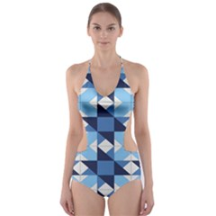Radiating Star Repeat Blue Cut Out One Piece Swimsuit