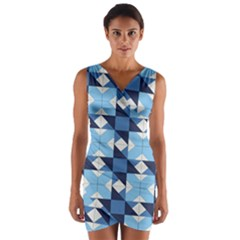 Radiating Star Repeat Blue Wrap Front Bodycon Dress