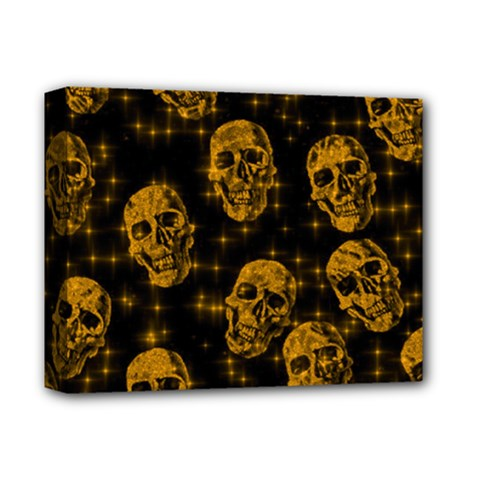 Sparkling Glitter Skulls Golden Deluxe Canvas 14  X 11  by ImpressiveMoments