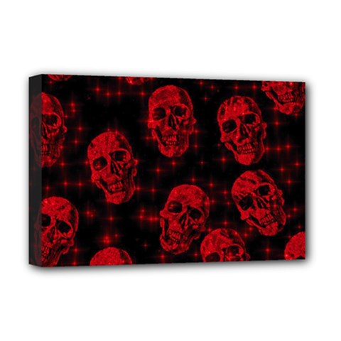 Sparkling Glitter Skulls Red Deluxe Canvas 18  X 12   by ImpressiveMoments