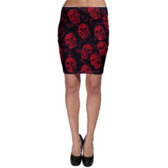 Sparkling Glitter Skulls Red Bodycon Skirt by ImpressiveMoments