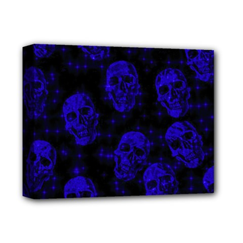 Sparkling Glitter Skulls Blue Deluxe Canvas 14  X 11  by ImpressiveMoments