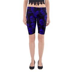 Sparkling Glitter Skulls Blue Yoga Cropped Leggings by ImpressiveMoments
