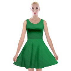 Green Beach Fractal Backdrop Background Velvet Skater Dress