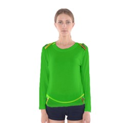 Green Circle Fractal Frame Women s Long Sleeve Tee