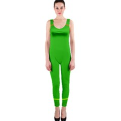 Green Circle Fractal Frame Onepiece Catsuit by Simbadda