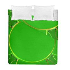 Green Circle Fractal Frame Duvet Cover Double Side (full/ Double Size) by Simbadda