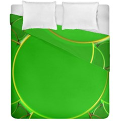 Green Circle Fractal Frame Duvet Cover Double Side (california King Size) by Simbadda