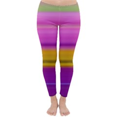 Stripes Colorful Background Colorful Pink Red Purple Green Yellow Striped Wallpaper Classic Winter Leggings by Simbadda