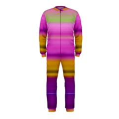 Stripes Colorful Background Colorful Pink Red Purple Green Yellow Striped Wallpaper Onepiece Jumpsuit (kids)