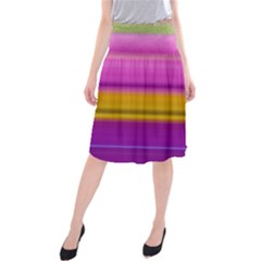Stripes Colorful Background Colorful Pink Red Purple Green Yellow Striped Wallpaper Midi Beach Skirt by Simbadda