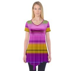 Stripes Colorful Background Colorful Pink Red Purple Green Yellow Striped Wallpaper Short Sleeve Tunic  by Simbadda