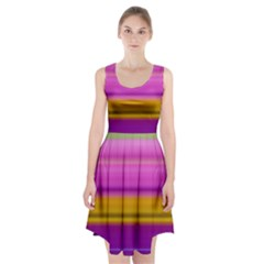Stripes Colorful Background Colorful Pink Red Purple Green Yellow Striped Wallpaper Racerback Midi Dress by Simbadda