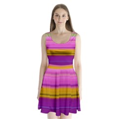 Stripes Colorful Background Colorful Pink Red Purple Green Yellow Striped Wallpaper Split Back Mini Dress