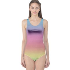Watercolor Paper Rainbow Colors One Piece Swimsuit