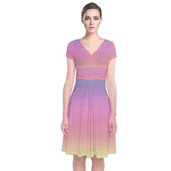Watercolor Paper Rainbow Colors Short Sleeve Front Wrap Dress