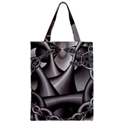 Grey Fractal Background With Chains Zipper Classic Tote Bag