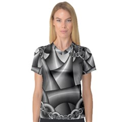 Grey Fractal Background With Chains Women s V Neck Sport Mesh Tee