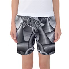 Grey Fractal Background With Chains Women s Basketball Shorts
