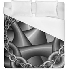 Grey Fractal Background With Chains Duvet Cover (king Size) by Simbadda