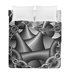 Grey Fractal Background With Chains Duvet Cover Double Side (full/ Double Size) by Simbadda
