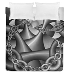 Grey Fractal Background With Chains Duvet Cover Double Side (queen Size)