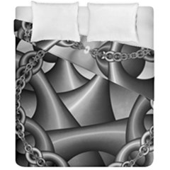 Grey Fractal Background With Chains Duvet Cover Double Side (california King Size) by Simbadda
