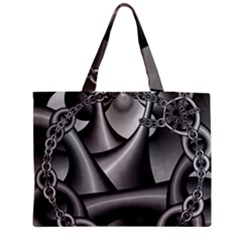 Grey Fractal Background With Chains Medium Tote Bag by Simbadda