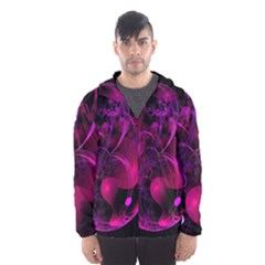 Fractal Using A Script And Coloured In Pink And A Touch Of Blue Hooded Wind Breaker (men)