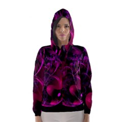 Fractal Using A Script And Coloured In Pink And A Touch Of Blue Hooded Wind Breaker (women)