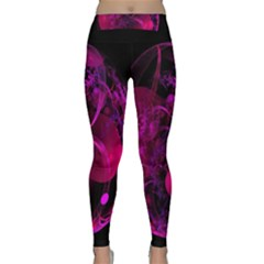 Fractal Using A Script And Coloured In Pink And A Touch Of Blue Classic Yoga Leggings