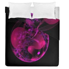 Fractal Using A Script And Coloured In Pink And A Touch Of Blue Duvet Cover Double Side (queen Size) by Simbadda