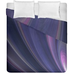 A Pruple Sweeping Fractal Pattern Duvet Cover Double Side (california King Size) by Simbadda